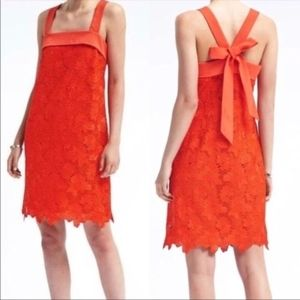 Banana Republic Bow Back Shift Lace Dress in Coral